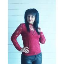 Блуза дантела бордо