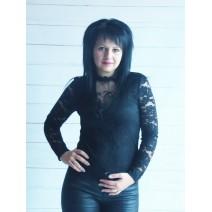 Блуза дантела в черно